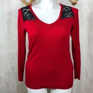 Torrid sweater  V Neck Lace Shoulder size 0 L